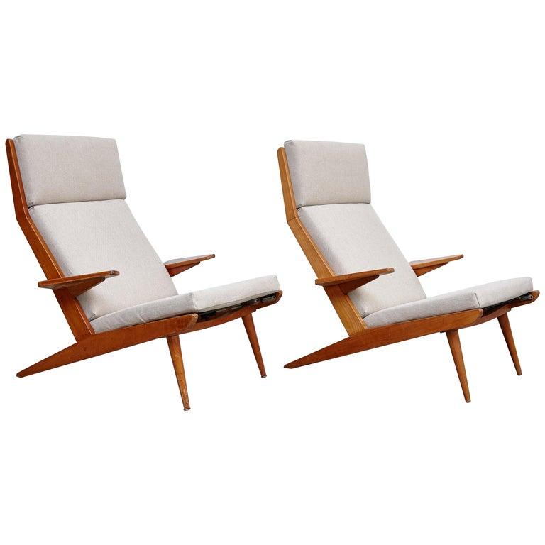 Pair of Koene Oberman, Mid Century Modern, Wood High Back Lounge Chair, 1960 For Sale