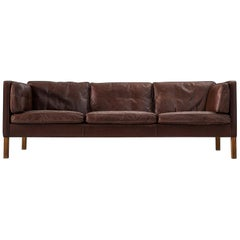 Borge Mogensen Sofa 2443 in Dark Brown Leather