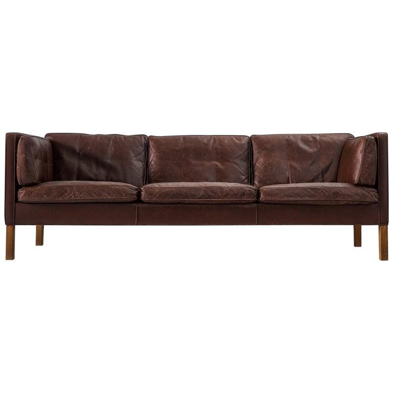 Borge Mogensen Sofa 2443 in Dark Brown Leather For Sale
