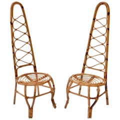 Set of Two Rattan and Bamboo Chairs on the French Riviera, 1960s