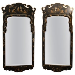 Pair of Sensational Chinoiserie Mirrors in Black and Gold