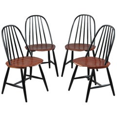 Mid-20th Century Set of 4 Scandinavian Chairs by Haga Fors, Sweden