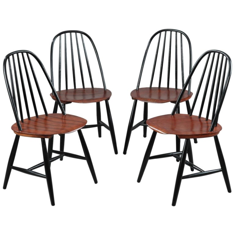 Mid-20th Century Set of 4 Scandinavian Chairs by Haga Fors, Sweden For Sale