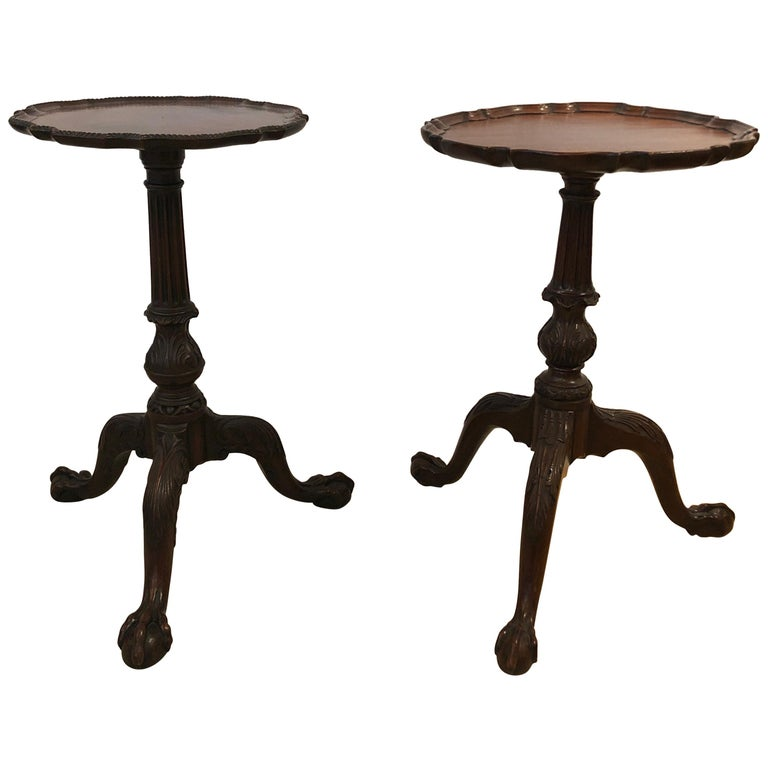 Pair Of Small Antique Chippendale Style Round Mahogany End Side Drinks Tables