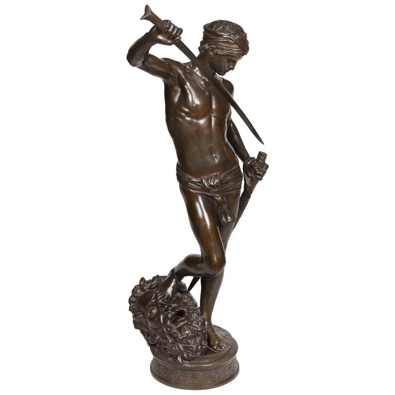 19th Century Bronze Statue of David by J.A. Mercié & Barbedienne For Sale