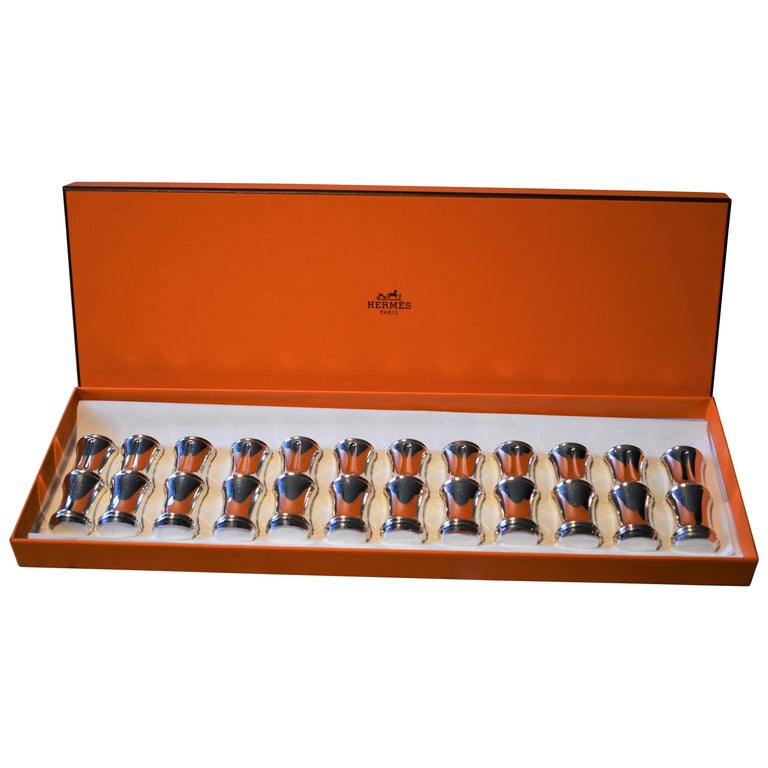Vintage Hermès Paris Set of Bamboo Silver Plate Knife Rests in Box For Sale