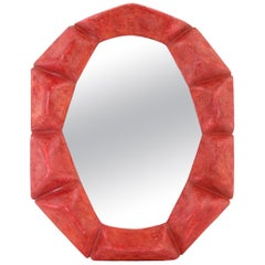 "French Contemporary Mirror,  ""Rouge-Fuchsia"" by Pascal & Annie"