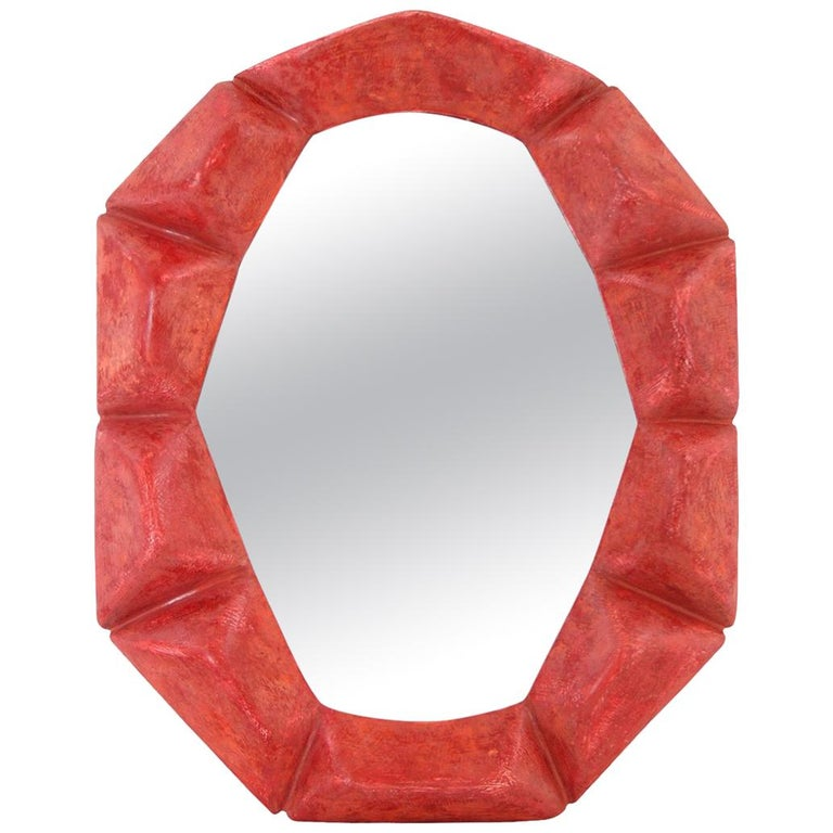 "French Contemporary Mirror,  ""Rouge-Fuchsia"" by Pascal & Annie For Sale"