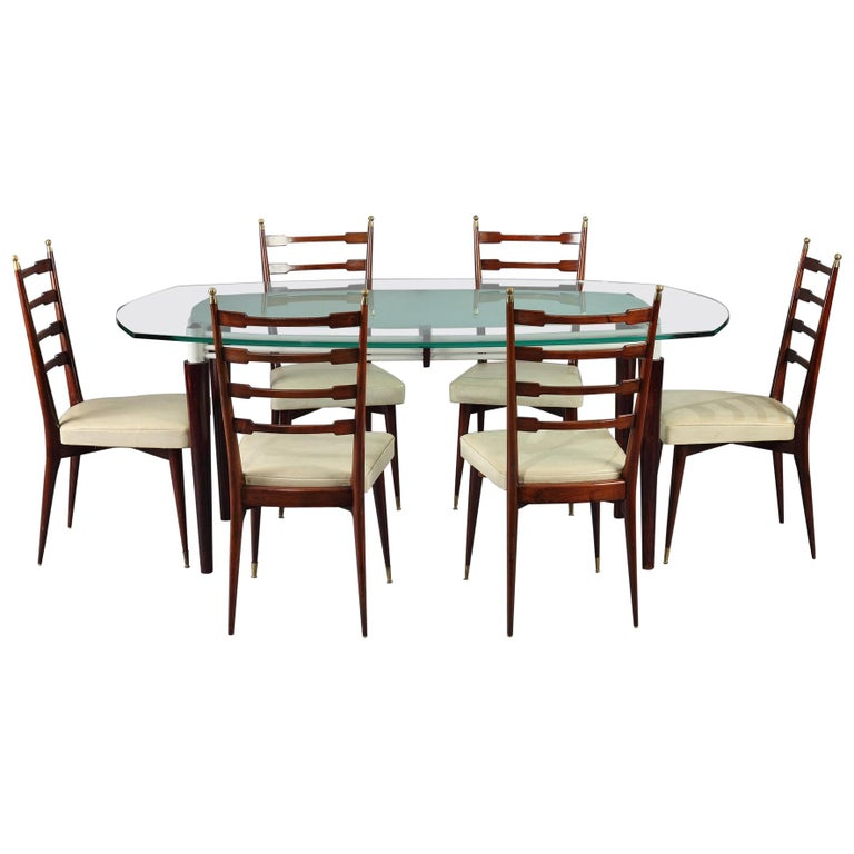 Midcentury Italian Design Dining Table And 6 Mahogany Chairs For