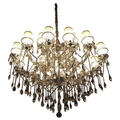 "Oval Crystal Chandelier ""Maria Theresia"" with White Lampshades"