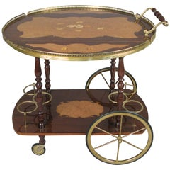 Italian Lacquered Walnut and Brass Bar Cart by Aldo Tura