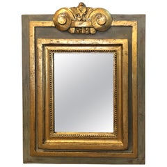 Small Glamorous Grey Celadon Green & Gilded Mirror