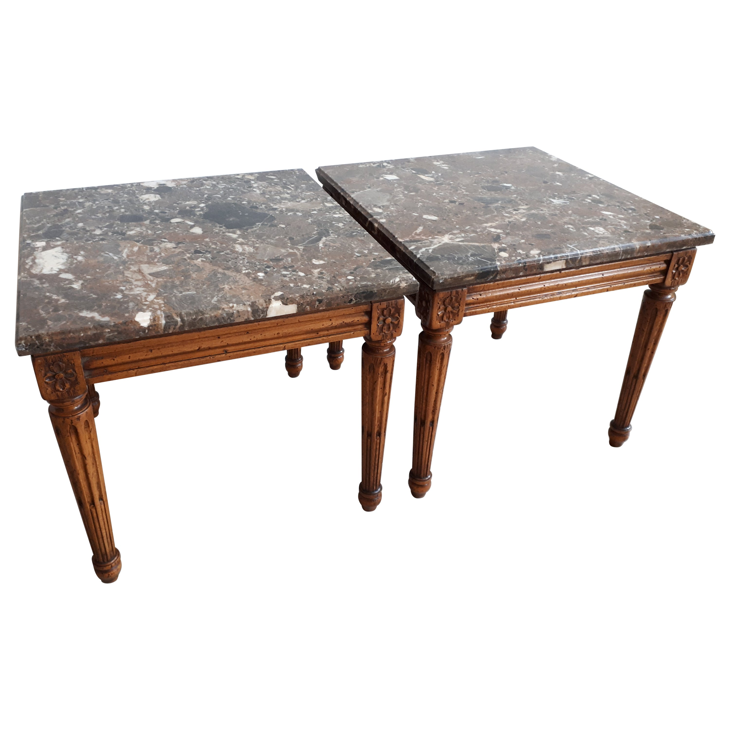French Louis XVI Style Marble Nightstands or Ends Table, Pair