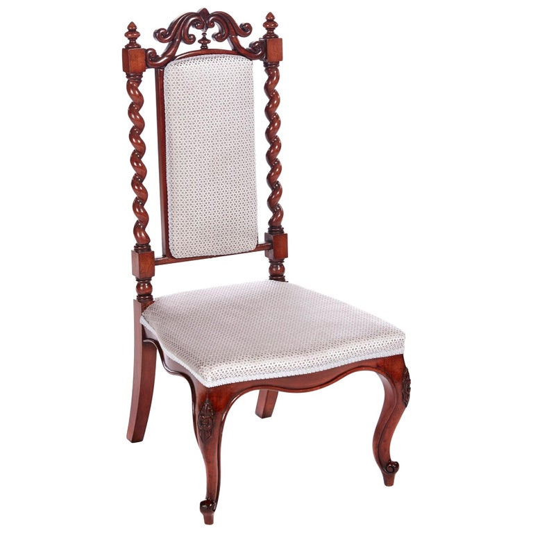 Antique Victorian Carved Mahogany Hall Chair For Sale