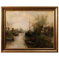 20th Century Oil On Canvas Dutch Impressionist Style Signed Landscape Painting