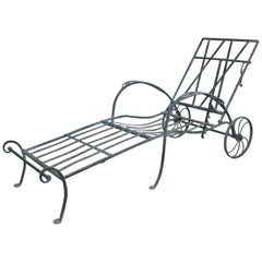 Antique Wrought Iron Adjustable Chaise Lounge by Salterini