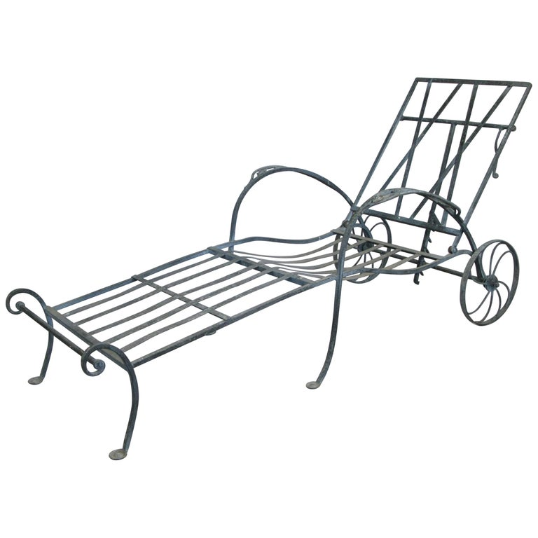 Antique Wrought Iron Adjustable Chaise Lounge by Salterini ...