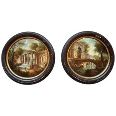 Pair of Italian Round Oil Paintings on Brass with 18th Century Decor circa 1960s