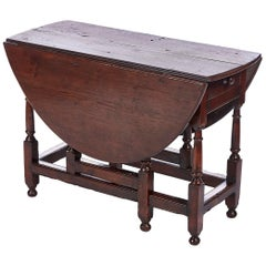 18th Century Antique Oak Gate Leg Table