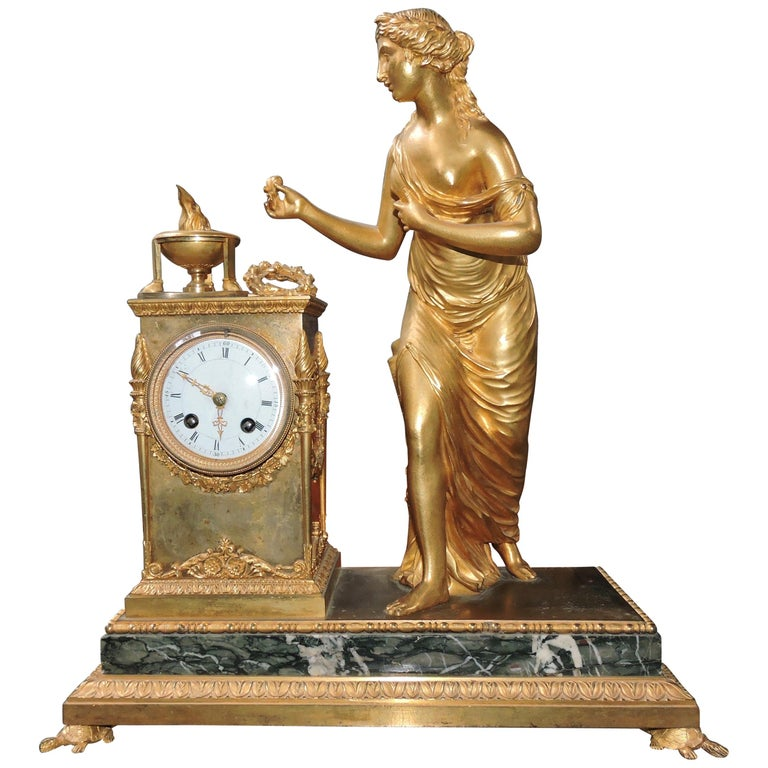 French Restauration Marble and Ormolu Mantle Clock For Sale