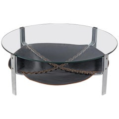 Coffee Table with Glass Top and Leather Inlay