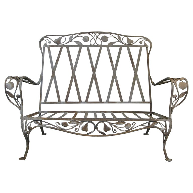 Large Vintage Wrought Iron Settee by Salterini For Sale