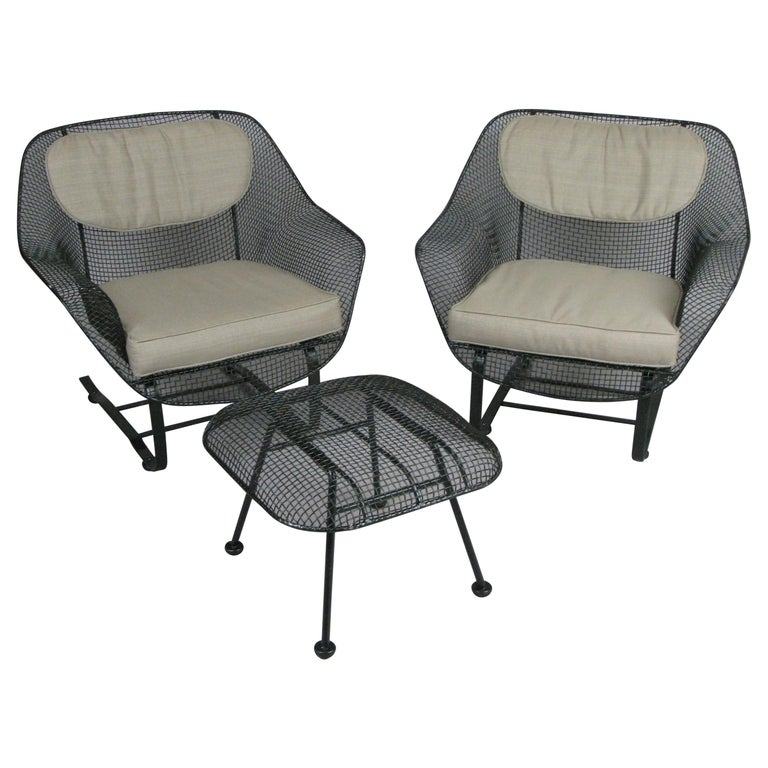 Pair of Woodard Sculptura Lounge Chairs and Ottoman For Sale