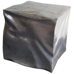 Side Table Cube in Organic Silvered Design Handmade in Germany