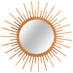 1960s French Riviera Rattan Starburst Sunburst Mirror