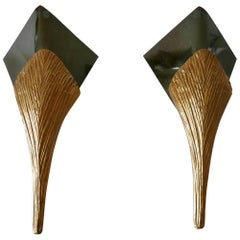 Set of 2 Large Bronze Nefertiti Sconces by Chrystiane Charles for Charles Paris