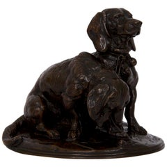 Emmanuel Fremiet French Antique Bronze Sculpture of Two Basset Hound Dogs