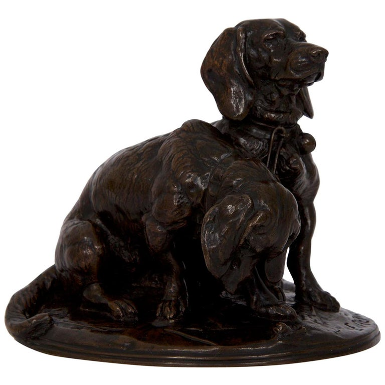 Sculpture of two basset hounds, 19th century, by Emmanuel Frémiet, offered by Silla, Ltd.