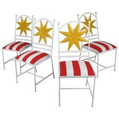 Set of Four Wrought Iron Shining Sun Dining Chairs