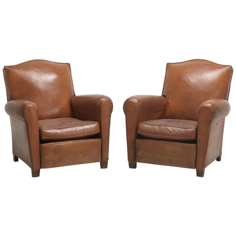 Art Deco French Leather Club Chairs, Still in Their Original Leather For Sale