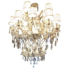 "Classic Crystal Chandelier ""Maria Theresia"" with Swarovski Crystals & Lampshades"