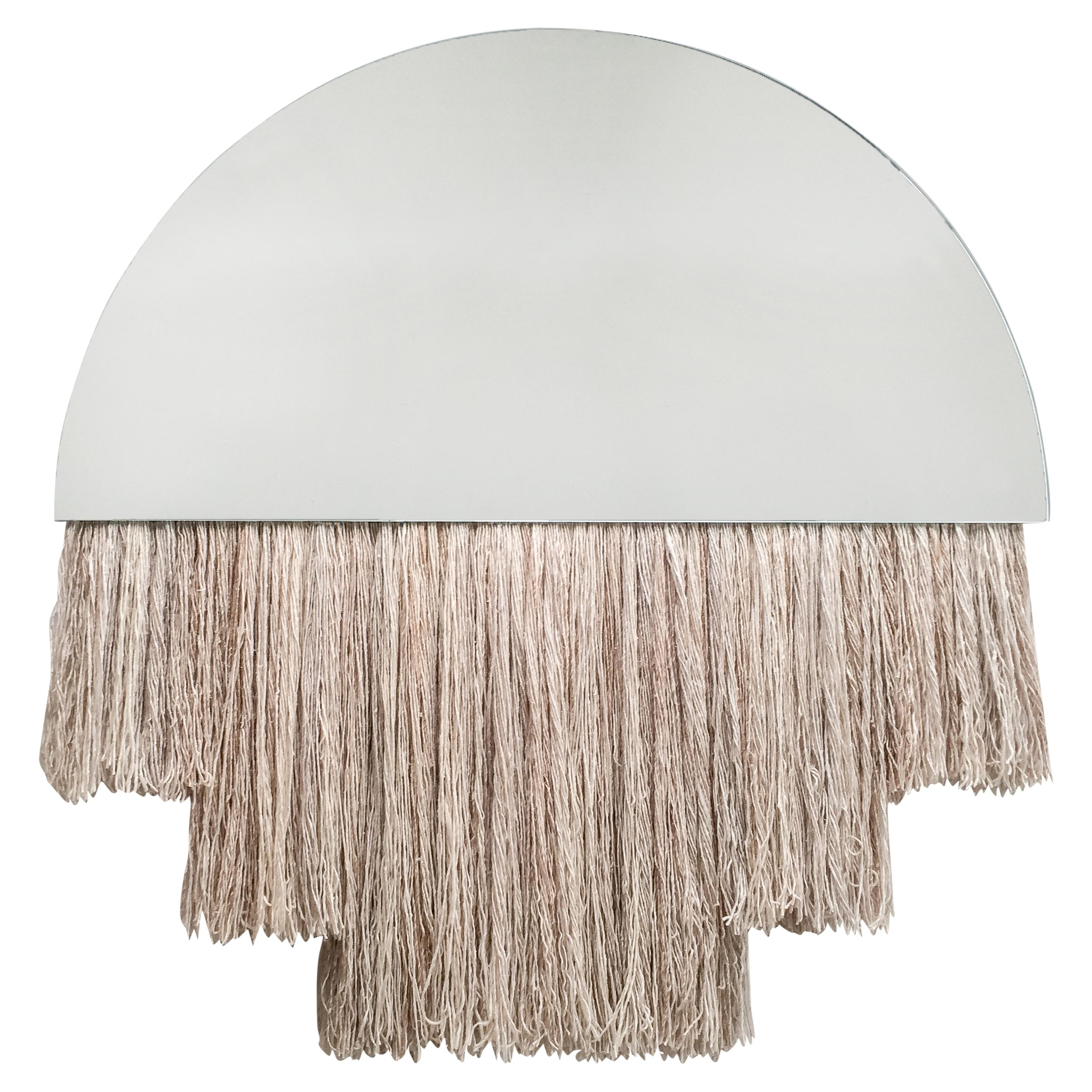 Large Clear Mirror with Fiber, Contemporary Half Moon Mirror by Ben & Aja Blanc