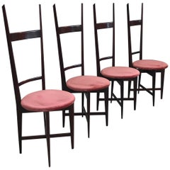 Charming Set of Four Dining Chairs by Santambrogio e De Berti, Italy, 1950s