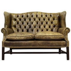 Chesterfield Chippendale Sofa Leather Antique Vintage Couch English