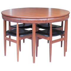 Hans Olsen for Frem Rojle Teak Danish Modern Dining Table and 6 Chairs