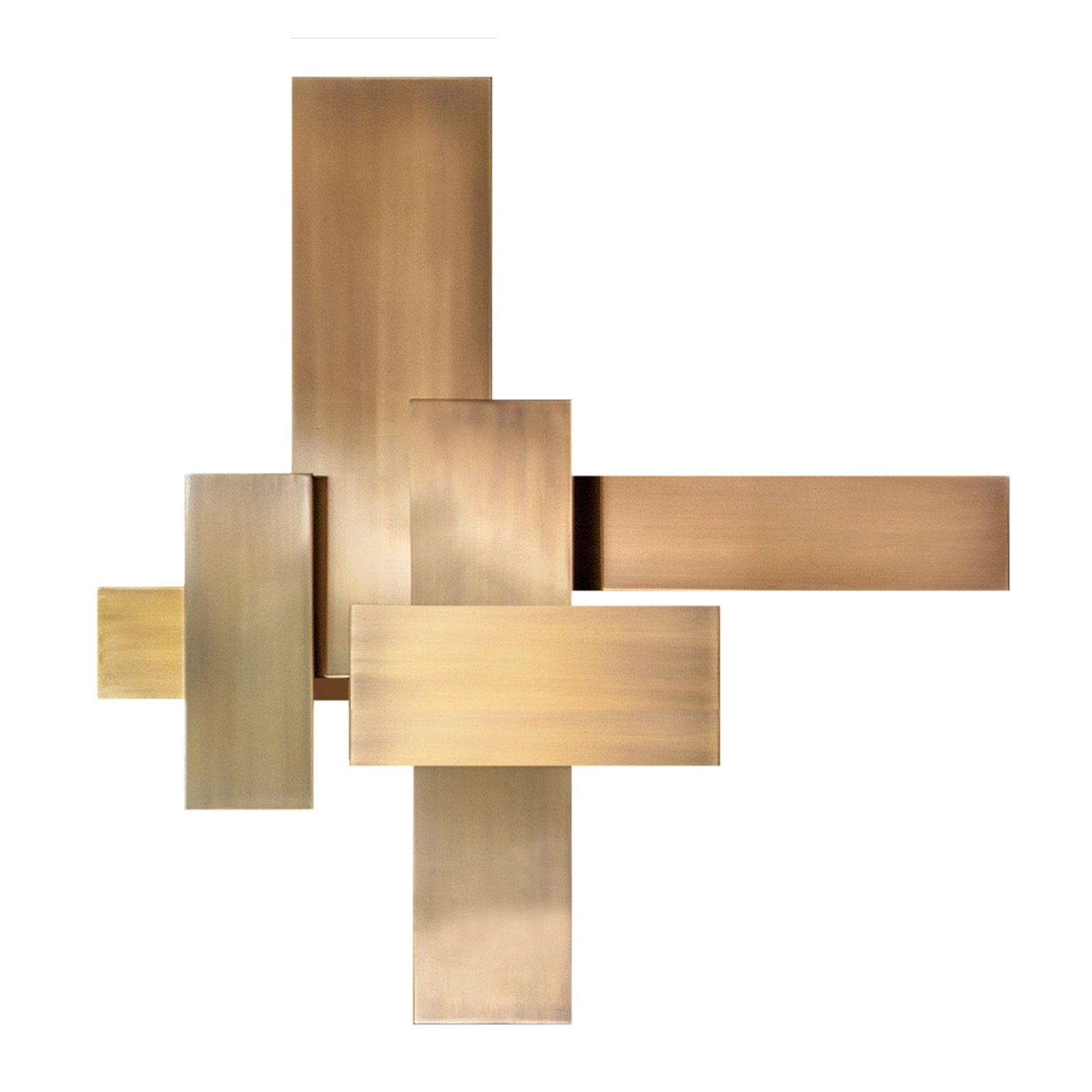 """Contemporary Handmade Wall Lamp """"Tymphe"""" in Brass Rectangular Layers by Anaktae"""