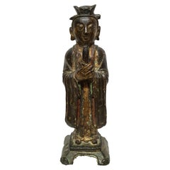 Chinese Laquered Bronze Sculpture of Dignitary, Ming, 1600s