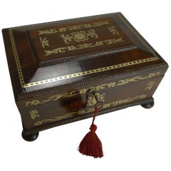 Antique English Cut Brass Inlaid Jewelry / Desk Box, circa 1820
