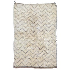 Ivory White Vintage Moroccan Beni Ouarain Rug with Gray and Brown Tribal Pattern