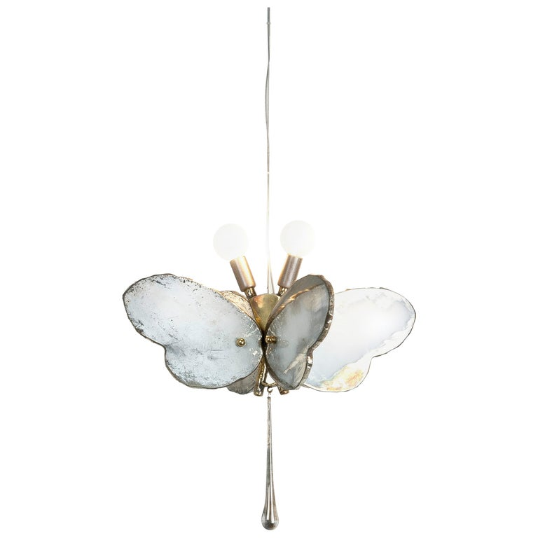 Butterfly Hanging Lamp Silvered Glass Hand Cast Body Crystal Handmade 1