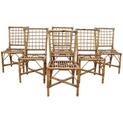 1970s Set of Six Spanish Bamboo Chairs