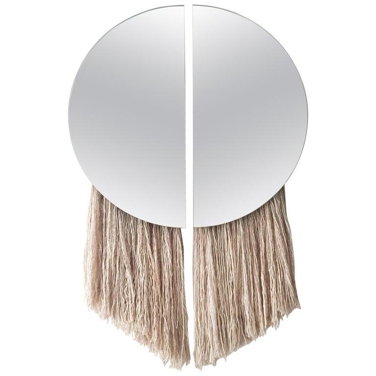 Silver Round Mirror with Fiber, Contemporary Apollo Mirror by Ben & Aja Blanc For Sale