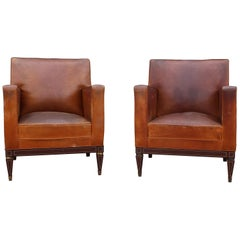 1950s Pair of Spanish Leather Armchairs with Metal Structure by Sistemas AF