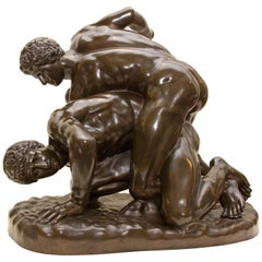 Bronze Greco-Roman Wrestlers F. Barbedienne Foundry