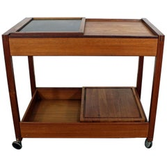 Danish Modern Teak Sliding Door Bar Cart