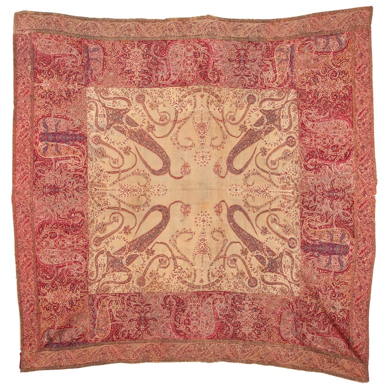 Antique Kashmir Shawl from India, 19th Century For Sale